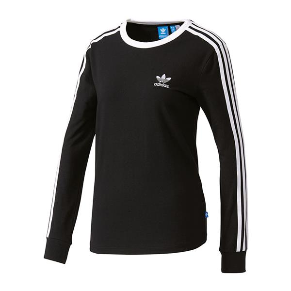 adidas originals 3 stripes ls shirt damen schwarz ebay. Black Bedroom Furniture Sets. Home Design Ideas