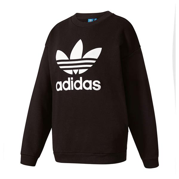 adidas originals trefoil sweatshirt damen schwarz ebay. Black Bedroom Furniture Sets. Home Design Ideas