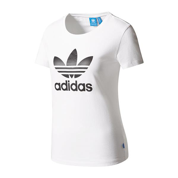 Adidas originals trefoil tee t shirt damen weiss ebay for Adidas lotus t shirt