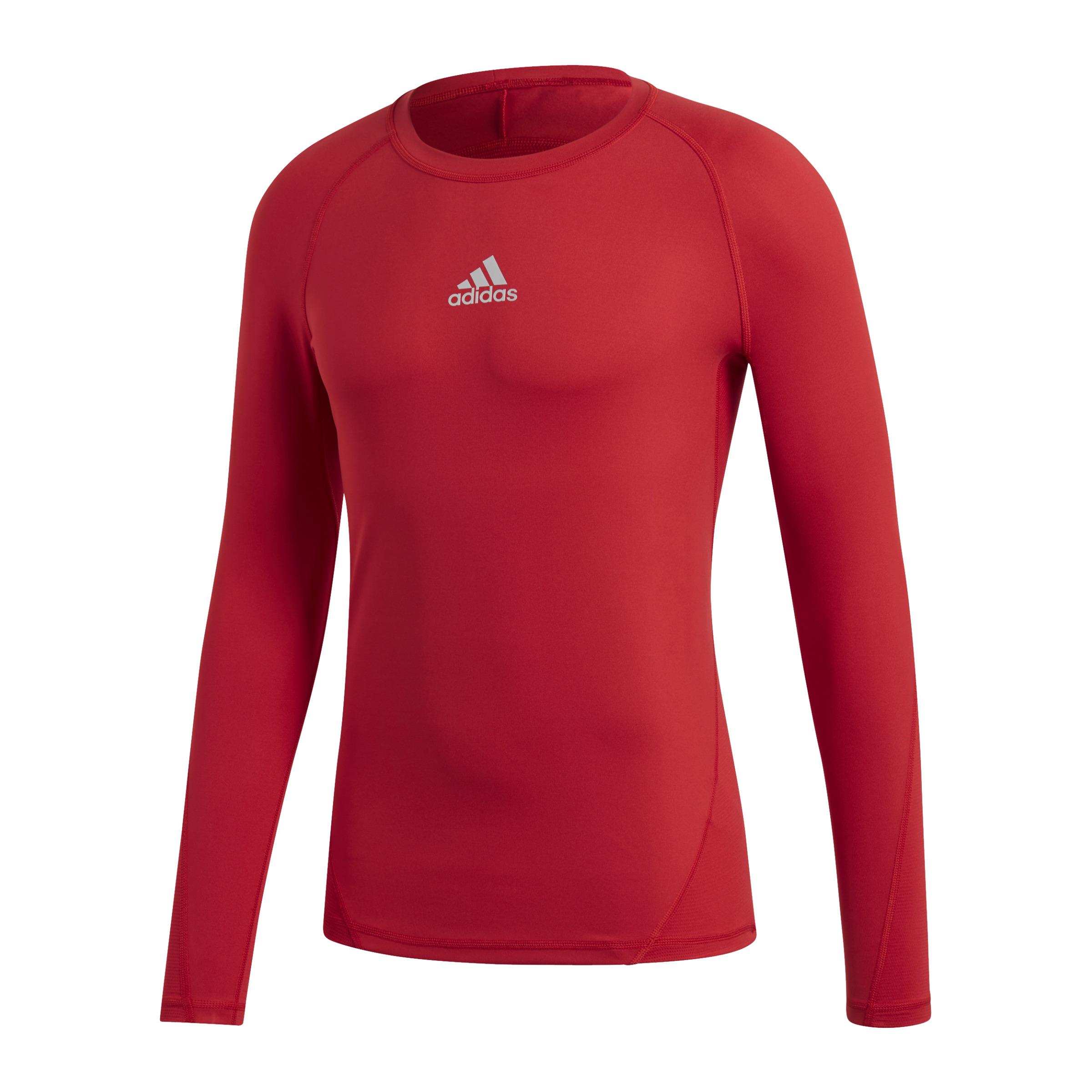 Adidas-Alphaskin-Camicia-Sport-Maniche-Lunghe-Rosso