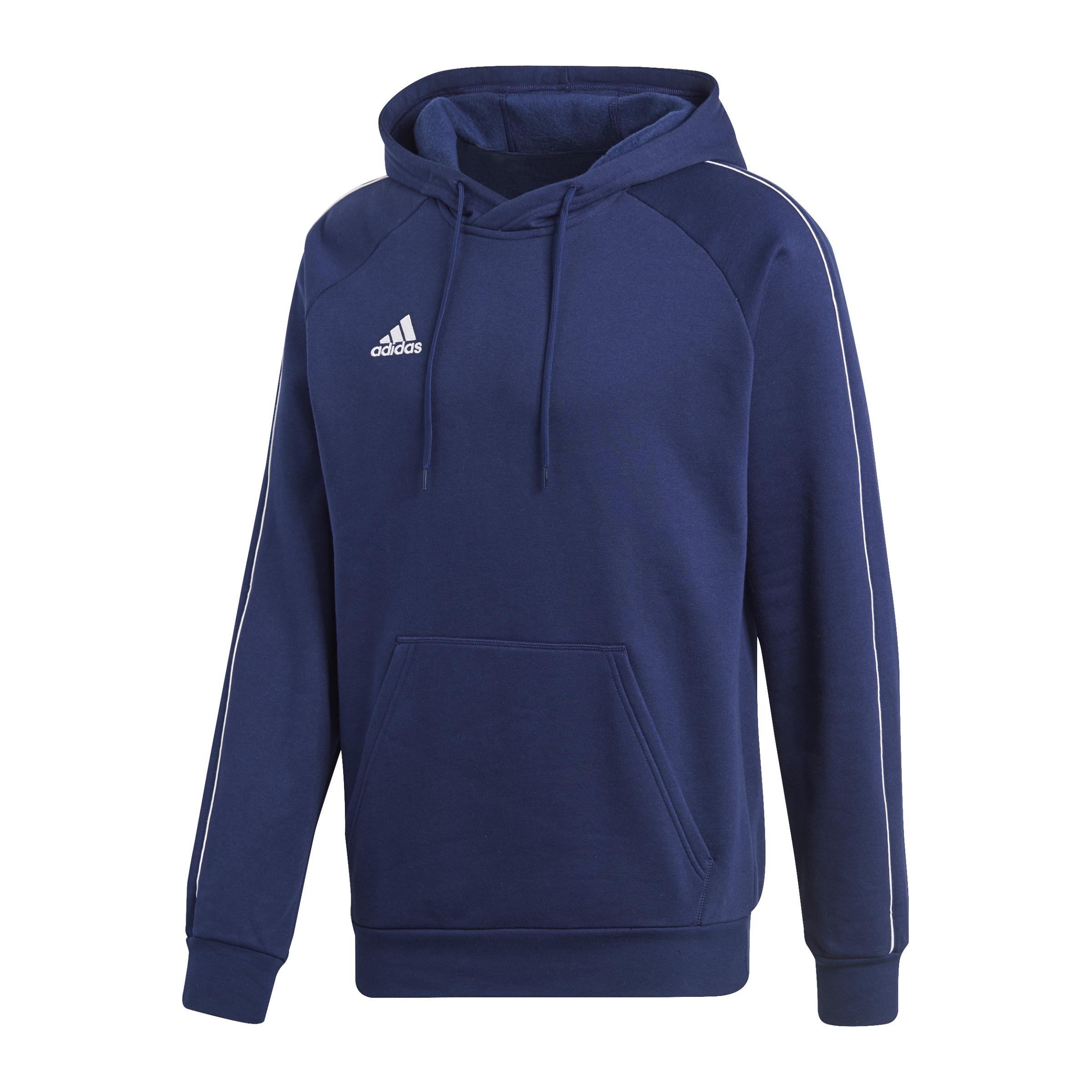 Adidas Core 18 Hoody Felpa per Allenamento con Cappuccio Bianco Blu