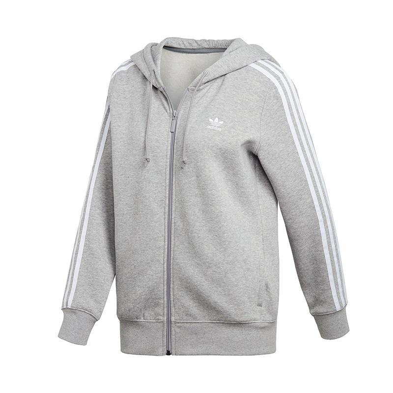 ADIDAS-ORIGINALS-3-rayures-Veste-a-capuche-femme-gris