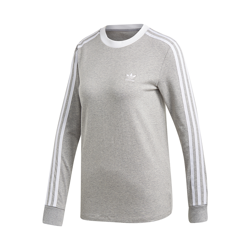 Damen 3 Originals Grau Adidas Sweatshirt Stripes STIzxwqU