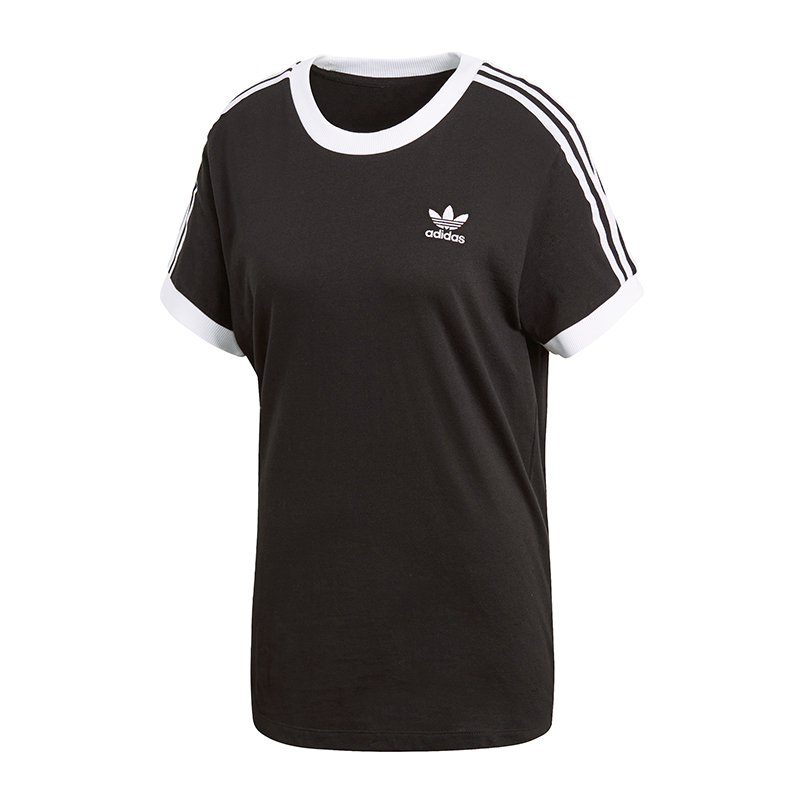 adidas originals 3 stripes t shirt damen schwarz ebay. Black Bedroom Furniture Sets. Home Design Ideas