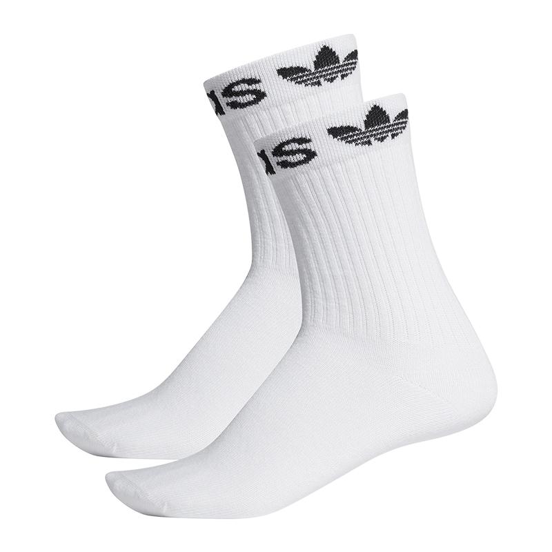 Detalles de Adidas Originals Cuff Crew Calcetines 2er Paquete Blanco