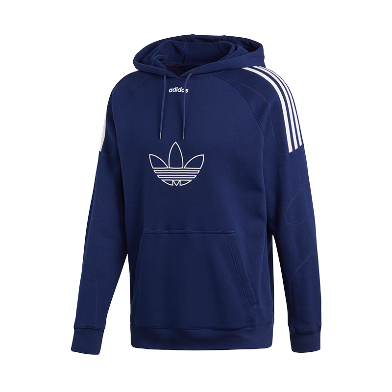 2019 Moda Adidas Originals Fiocco Trefoil Felpa Con Cappuccio Blu Bianco Pregevole Fattura