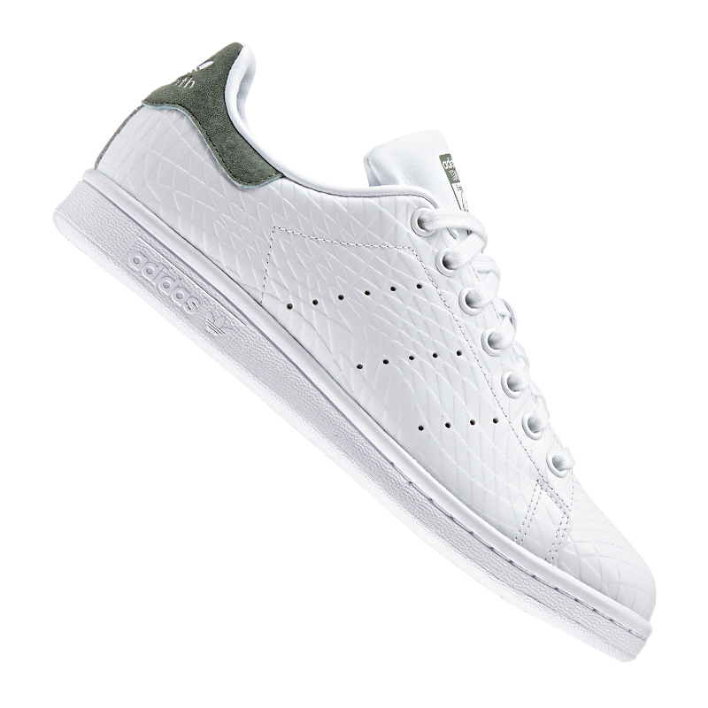 adidas originals stan smith damen weiss khaki ebay. Black Bedroom Furniture Sets. Home Design Ideas