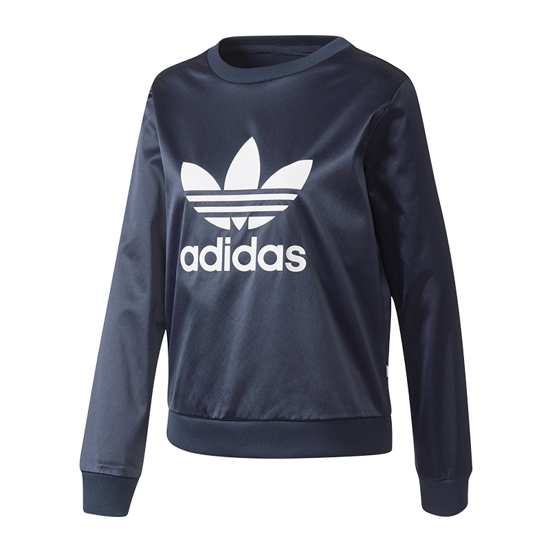 adidas originals trefoil crew sweat damen blau ebay. Black Bedroom Furniture Sets. Home Design Ideas