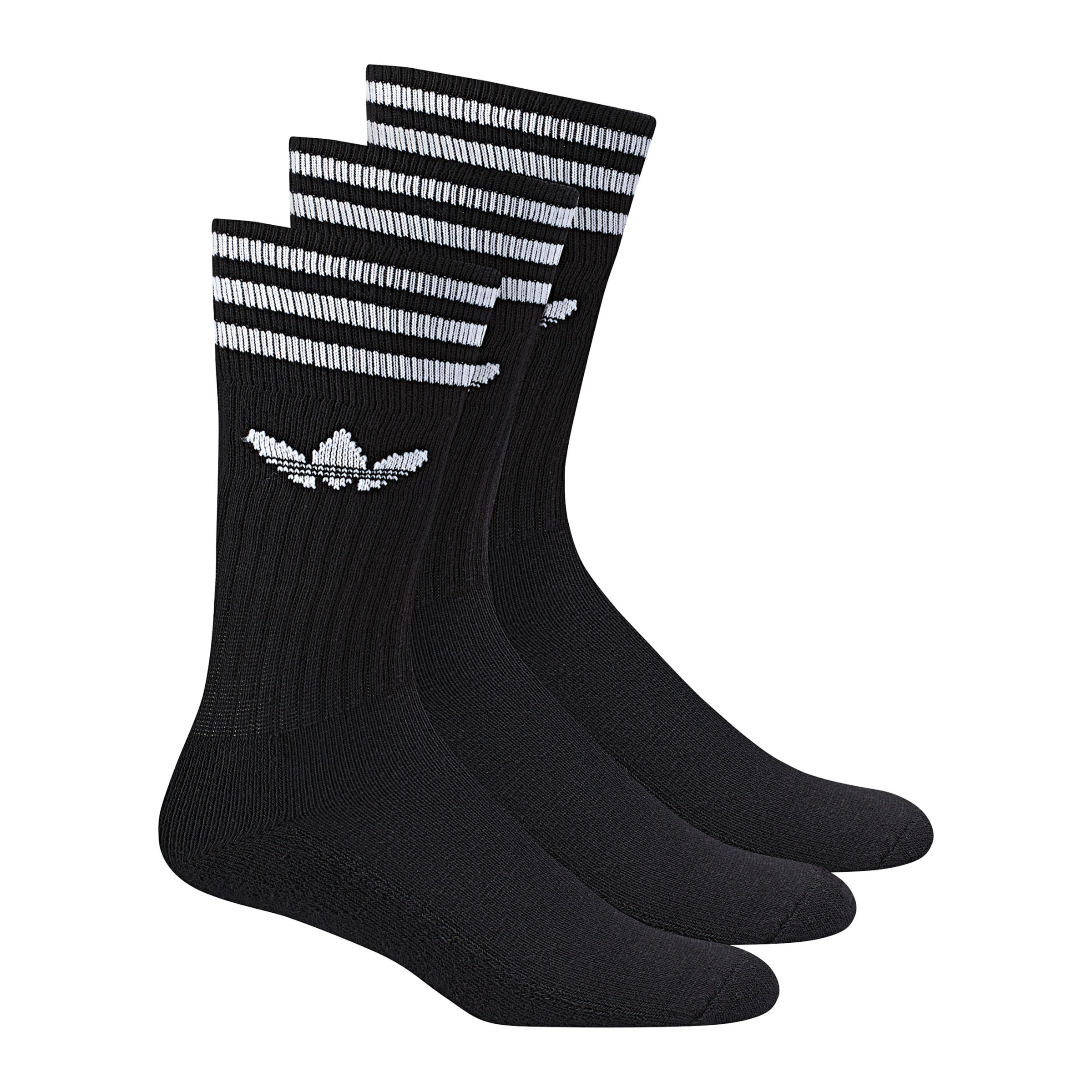 Adidas Solid Crew Socks Pack of 3 Black White