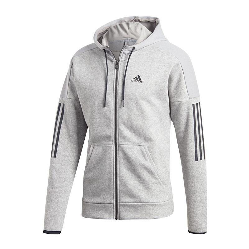 Das Bild wird geladen adidas-Sport-ID-Logo-Fleece-Kapuzenjacke-Grau f5d5d054ce