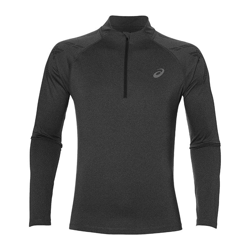 Asics Stripe 1 2 Zip T-Shirt Running Grey F0722