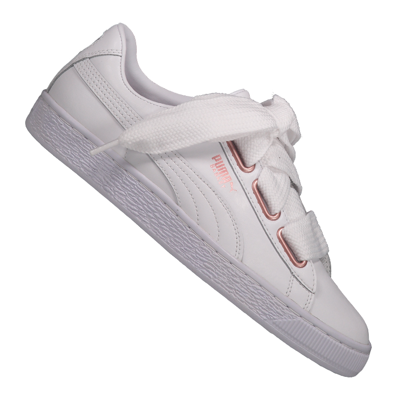 PUMA Basket Heart leather sneaker donna f01 Bianco