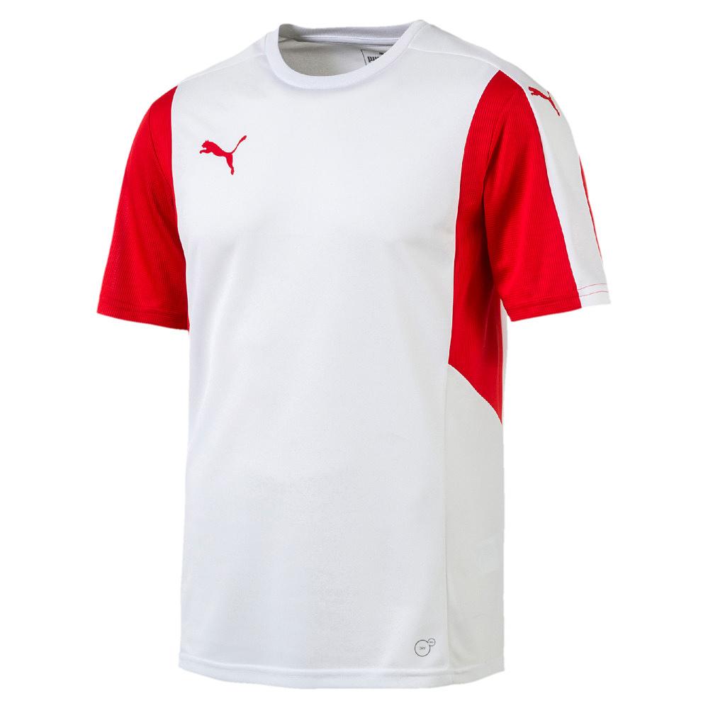 Puma-Dominate-Camiseta-Manga-Corta-Blanco-Rojo-F12