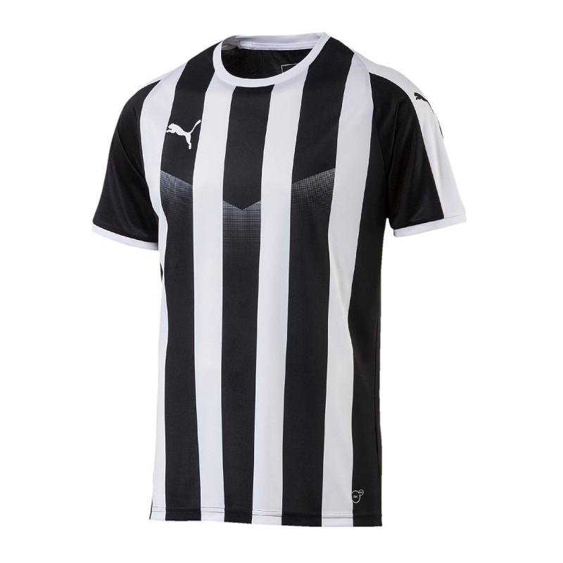 Puma-Liga-a-Rayas-Camiseta-Manga-Corta-Negro-Blanco-F03