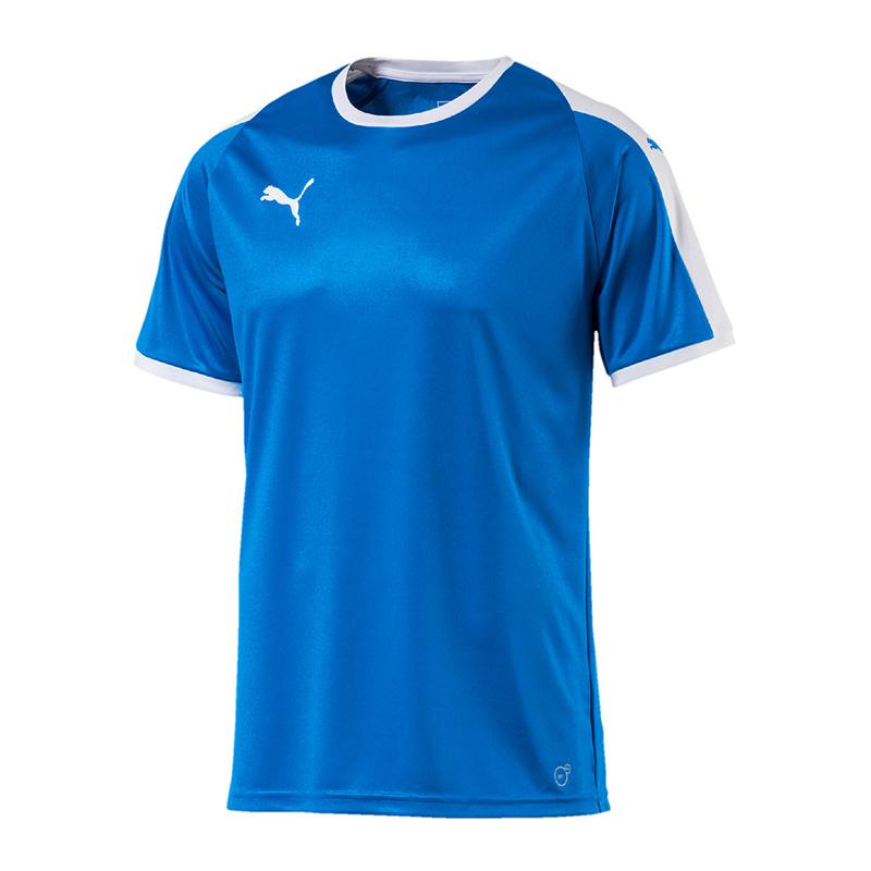 PUMA-LIGA-Camiseta-manga-corta-ninos-Azul-Blanco-F02