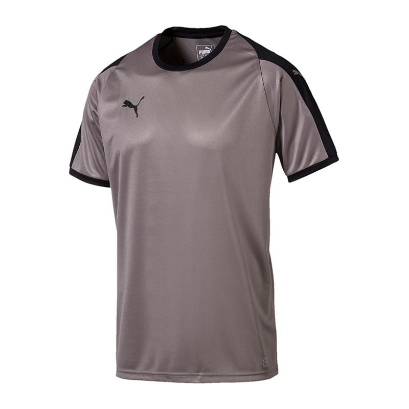 Puma-Liga-Camiseta-Manga-Corta-Ninos-Gris-Negro-F13