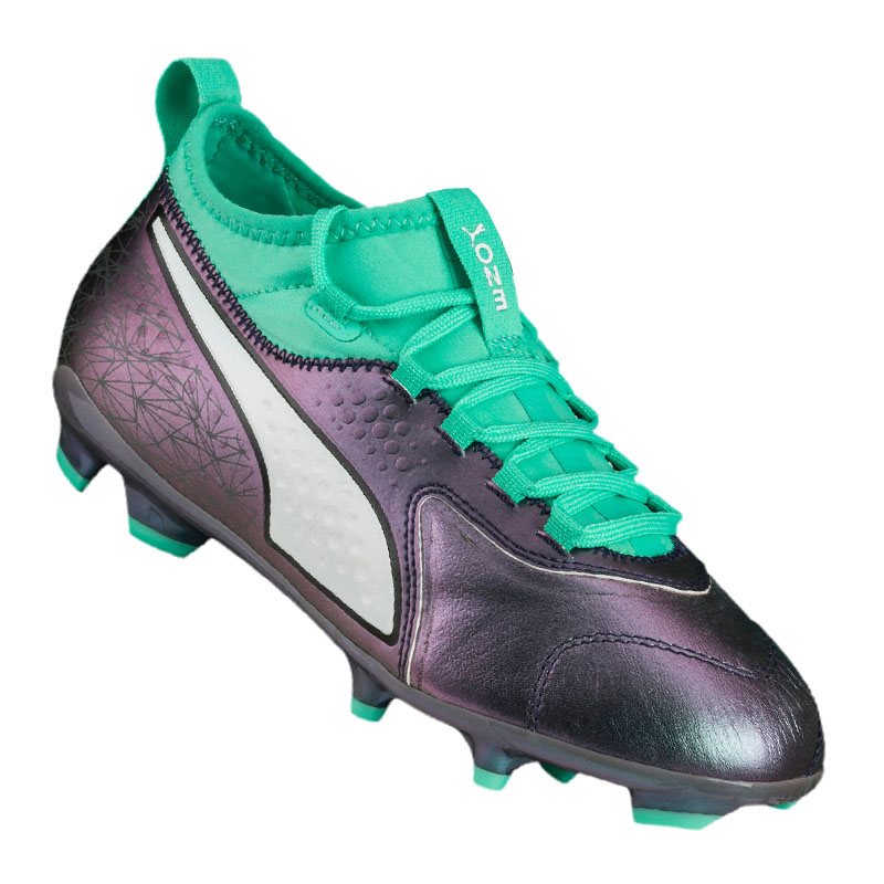 3052f45d363 Image is loading Puma-One-3-Il-Leather-Fg-Kids-Turquoise-