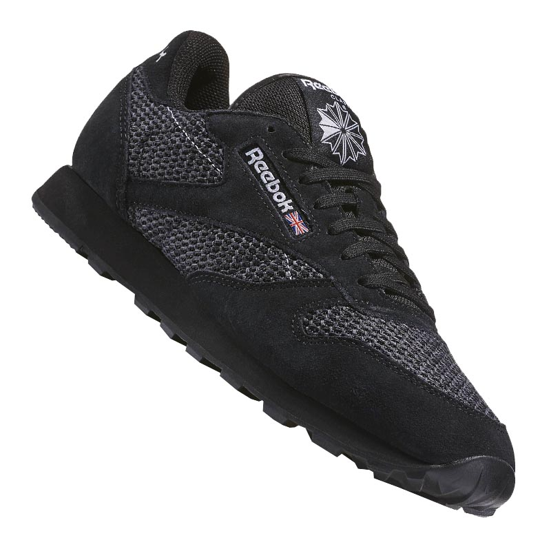 reebok classic leather knit sneaker schwarz weiss ebay. Black Bedroom Furniture Sets. Home Design Ideas