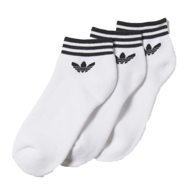 best supplier size 40 best wholesaler adidas Originals Trefoil Ankle Stripes 3pp Socks EU 31-34-white