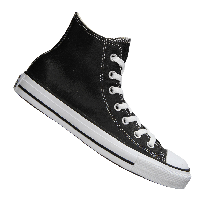 ef352b9ebf61 Converse Chuck Taylor Hi All Star Black Leather Canvas SNEAKERS ...